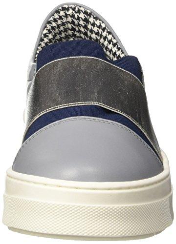 Pollini 32867, Sneaker a Collo Basso Donna Multicolore (Stone Calf-Blue Overseas Elastic-Silver Lamè Elastic)
