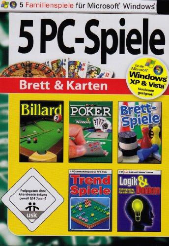 5 PC Spiele: Brett & Karten (Billard 2 / Poker / Brettspiele / Trend Spiele / Logik und Denken - Gehirnjogging für jedes Alter) (Poker Pc Für Spiele)