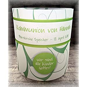 4er Set Tischlicht Tischlichter Kommunion Konfirmation Jugendweihe Taufe Ornamente Tischdeko personalisierbar grün
