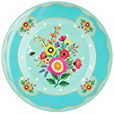 Ginger 25.5 x 25.5 x 2.5 cm Large Pretty Floral Melamine Plate, Turquoise