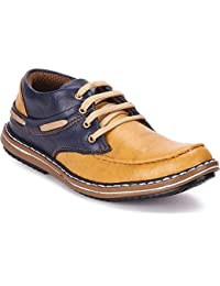 Moonster Men Smart Casual Tan-Blue Leather Boots For Men
