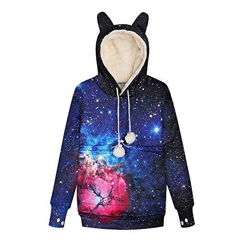 LUOYLYM Sternenhimmel Digitaldruck Abnehmbar Plus Samt Tasche Haustier Tasche Pullover Lässig Katze Und Hund Hoodie Bwqd002 XL