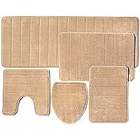 Cuarto de baño alfombra de espuma de memoria, 5piezas), extra suave parte Trasera Antideslizante