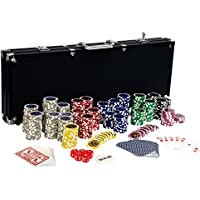 Ultimate Black Edition Poker Set with 500 Premium 12g Metal Core Laser Chips, 100% Plastic Cards, 2 x Poker Deck, Aluminium Poker Case, 5 x Dice, 1 x Dealer Button, Poker, Set, Poker Chips, Case