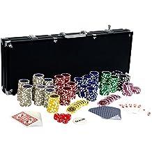 Ultimate Black Edition Pokerset, 500 chips de láser de alta calidad de 12 gramos núcleo de metal, 100% TARJETAS PLÁSTICAS,póker, conjunto, fichas de póquer, maleta, fichas
