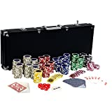 Maxstore Set da Poker Ultimate Black Edition - 500 Chip Laser da 12 Grammi con Centro in Metallo, Carte in 100% PLASTICA,