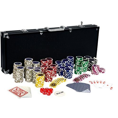 Maxstore Coffret de Poker Ultime Black Edition - 500 jetons Laser 12 g avec Insert en métal - 2 Jeux de Cartes en Plastique - 5 dés - 1 Bouton Dealer - Mallette Noire en Aluminium