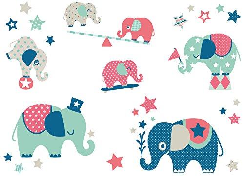 anna wand Wandsticker ELEFANTEN BOYS - Wandtattoo für Kinderzimmer / Babyzimmer mit Elefanten in versch. Farben - Wandaufkleber Schlafzimmer Mädchen & Junge, Wanddeko Baby / Kinder (Home Wand-aufkleber Hirsch)