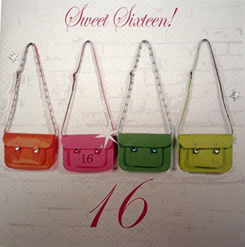 WHITE COTTON CARDS Sweet Sixteen handgefertigt groß zum 16. Geburtstag Karte Neon Schulranzen (Sweet 16 Neon)