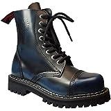 Angry Itch - 8-agujeros botas goticas punk de cuero azul - números 36-48 - Hecho in EU!