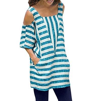 Yvelands Damen Bluse T-Shirt O-Ausschnitt Kurzarm Streifendruck Liebsten Freizeithemden Tops Bluse