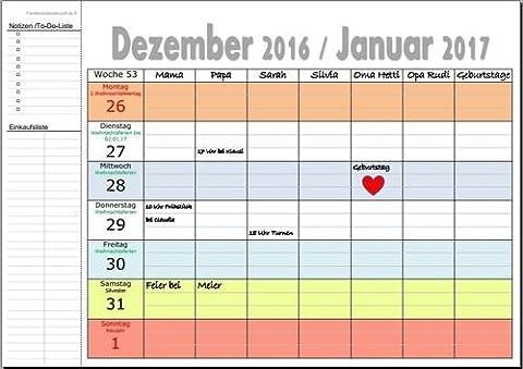XL Familienkalender 2018 Deutschland A4 quer-Format 53 Wochen 7 Spalten inkl. Feiertage OHNE Namenseinträge&OHNE Ferien mit Ringbindung (Dezember Kalender 2016 Weihnachten)