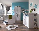 lifestyle4living Babyzimmer Komplett-Set in Weiß-Eiche-Dekor besteht aus 6 Teilen, Set ist umbaubar/mitwachsend, modernes Kinderzimmer für Jungen und Mädchen