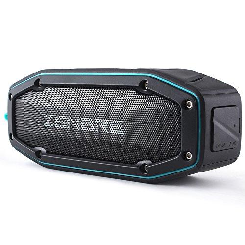 Zenbre Bluetooth-Lautsprecher, D6 Bluetooth 4.1, wasserdicht, IPX6 mit 18 Stunden Spielzeit, 10 W Dual-Treiber mit Bass-Resonator, Freisprechfunktion, stoßfest, tragbarer Lautsprecher (blau)