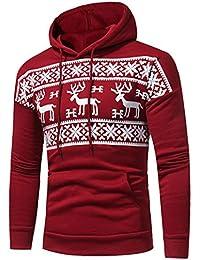 BYSTE Sweatshirt Natale Stampato Felpa con chiusura lampo manica lunga Felpa con Cappuccio - Uomo
