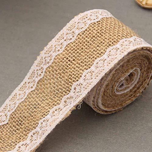 BianchiPag Cinta de Hesse Rolls artística Yute de arpillera, con Favor de la Boda del cordón de la Vendimia rústica decoración de la Boda del Ornamento arpillera