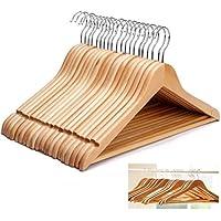 Guilty Gadgets cintres en bois de catégorie A, avec barre horizontale, pour accrocher manteaux, costumes, habits et pantalons dans l'armoire-Lot de 20