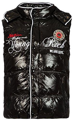 Herren gefütterte Weste mit Glanz Optik Vest der Marke Young & Rich mit Kapuze in den verschiedenen Farben Schwarz