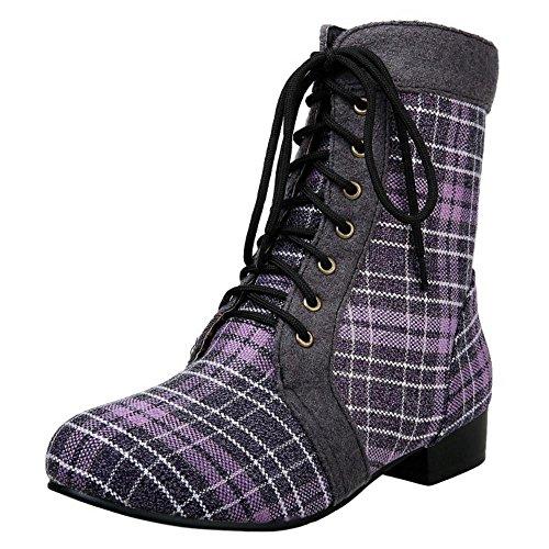 RAZAMAZA Femmes Mi-Bottes Lacets Plaid Bottines Western Bloc Talon Bas Fur Purple