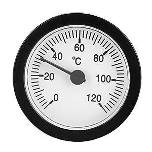 VBESTLIFE 0-120 ° C Thermometer,Pressure Dial Rund Heißwasserschlauch Thermometer 1,5m Rohr