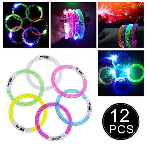 Funnyshow 12 Stück LED Armband Set, Blinkend Armreif Armbänder für Weihnachten Kinder Geburtstag Party Disco Weihnachten Konzert Kinder Spielzeug mit 2er Ersatzleucht