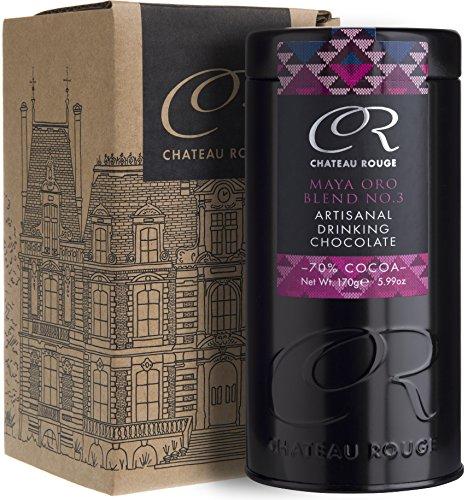 Luxus Trinkschokolade 70% - Maya Oro, Für Dunkle Reine Schokolade, Handgemacht Von GMO-freien Anbau, Gewürzen der Azteken und reinem Valrhona Kakaopulver, 170g Geschenkdose