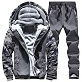 AIEOE Mens Camouflage Tracksuits Winter Warm Zip Up Hoodie Sweatshirt Tops and Casual