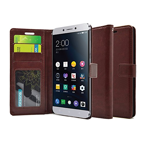 FOSO(TM) LeEco Le 2 (5.5 Inch) High Quality PU Leather Magnetic Flip Cover Wallet Case (Brown)