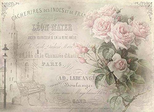 Reispapier A4 - Rosen von Paris, Motiv-Strohseide, Strohseidenpapier, Decoupage Papier
