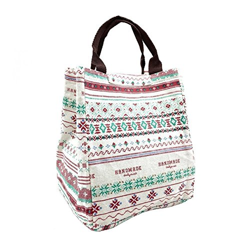 Casadeiy Leinwand Cool Bag Lunch Box Einkaufstasche Picknick BBQ Food Carrier Reise Schule Büro Mittagessen Tragetaschen (Blumen)