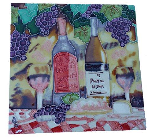 JLPENT Wein mit Lila Trauben Dekorative Keramik Art Tile 8x 8inc - Trauben-keramik-fliese