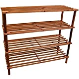 Home Discount 4 Tier Slated Wood Storage Organiser Shoe Stand Rack, Walnut FREE DELIVERY