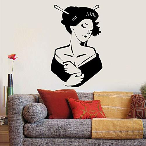 yiyitop Moderne Heimtextilien Wohnzimmer Vinyl Wandtattoo Asiatische Mädchen Japanische Frau Geisha Aufkleber Abnehmbare Innenwand 57 * 91 cm -