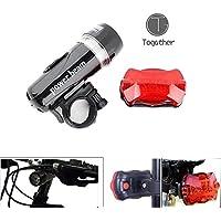 Togather® Multi funzionali Super luminosi 5 posteriori a LED e luci anteriori - combinazione Pack, buono per luce bici, passeggino Light, Jogging luce, luce di emergenza, luce di campeggio, ecc. (Nero)