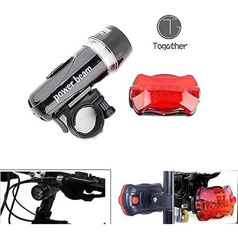 Togather® Multi funcional Super brillante 5 LED cola y faro delantero - paquete de combinación, buena para luz de bicicleta, luz cochecito, Jogging luz, luz de emergencia, luz que acampa, etc..