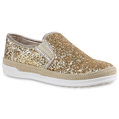 Damen Sneakers Slipper Slip-ons Glitzer Skaterschuhe Flats Gold Glitzer Bast