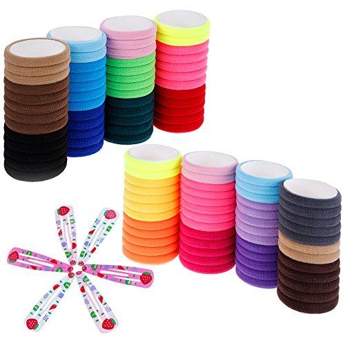 Lictin 8mm elastici per capelli fermacapelli ponytailer legami di capelli per ragazze, fasce elastiche per legare i capelli a coda per donna o ragazza (100 pezzi) colori misti