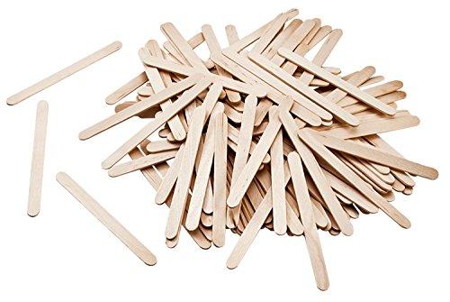 500 palos de madera de color natural. Los palos son planos y están redondeados en los extremos. Tamaño: 114 x 10 x 2 mm.