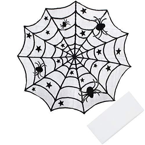 Elcoho Tovaglia di pizzo nero 2 pezzi Set nero ragnatela Halloween Lace  Table cover per Halloween bac1d064619e