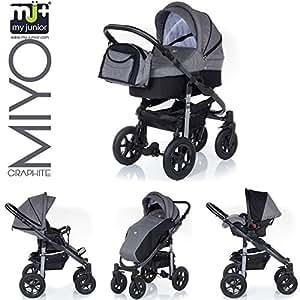 My Junior+® Miyo GRAPHITE Kombikinderwagen Komplettset bis zum 4.Lebensjahr---3 Years Guarantee---+Autositz (11-Teile-Megaset) Premium Kinderwagen (Graphite Dark Grey)