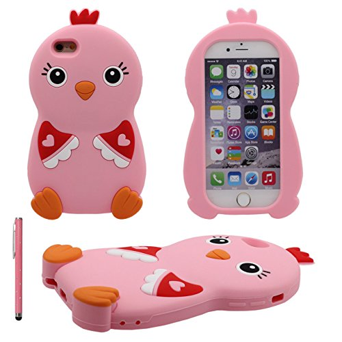 iPhone 6S Coque Case Doux Silicone Plastique Gel Housse de Protection Anti Choc Charmant 3D Animal Poussin Forme Etui Apple iPhone 6 6S 4.7 inch X 1 stylet rose