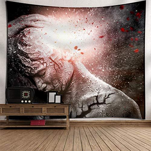 Rjjdd Bedruckte Tapisserie Wandbehang Strandtücher Tagesdecke Yogamatte Decke Halloween Dekor Zuhause Dekor(150X130Cm) (Für Halloween-makeover Mädchen)