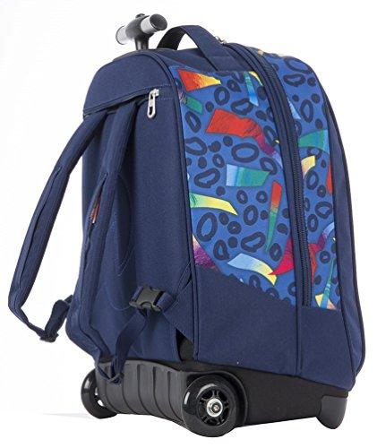 TROLLEY INVICTA - MIX -2en1 Sac à dos à roulettes avec bretelles escamotable - bleu 35Lt