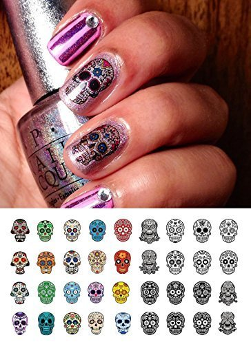 Sugar Skull Nail Art Day of the Dead Decals Assortment #4 - Featured in Rachael Ray Magazine October 2014! by Moon Sugar ()