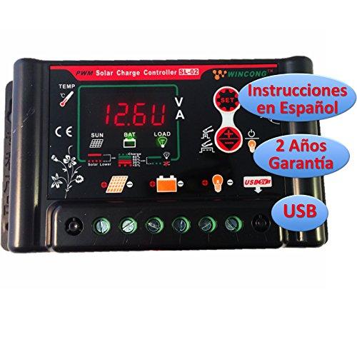 Wincong Programmierbarer Solar-Regler SL02-10A, 12V / 24V, für Blei-Batterien (Pb) / VRLA (AGM) / Gel / Li-Ion / LiFePO4(LFP), Bedienungsanleitung