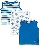 Twins Baby-Jungen Unterhemd, 3er Pack , Mehrfarbig (Weiss/Blau 810002), 56