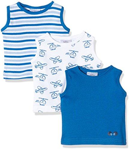 Twins Baby-Jungen Unterhemd, 3er Pack , Mehrfarbig (Weiss/Blau 810002), 80