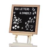 Lumaland Letter Board Memo Buchstabentafel Holzrahmen und Ständer 360 Buchstaben inklusive Emojis 25x25 cm