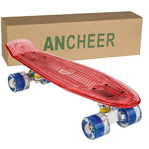 Ancheer Mini-Cruiser-Skateboard 55cm Skateboard mit oder ohne LED Deck,alle mit LED Leuchtrollen,mit USB Kabel aufzuladen,Farbe:Deck in Rot mit LED / Rollen in Blau mit LED