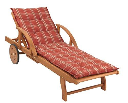 Gartenliege Rio Grande mit Kissen Rubin Holz Liege Sonnenliege Relaxliege